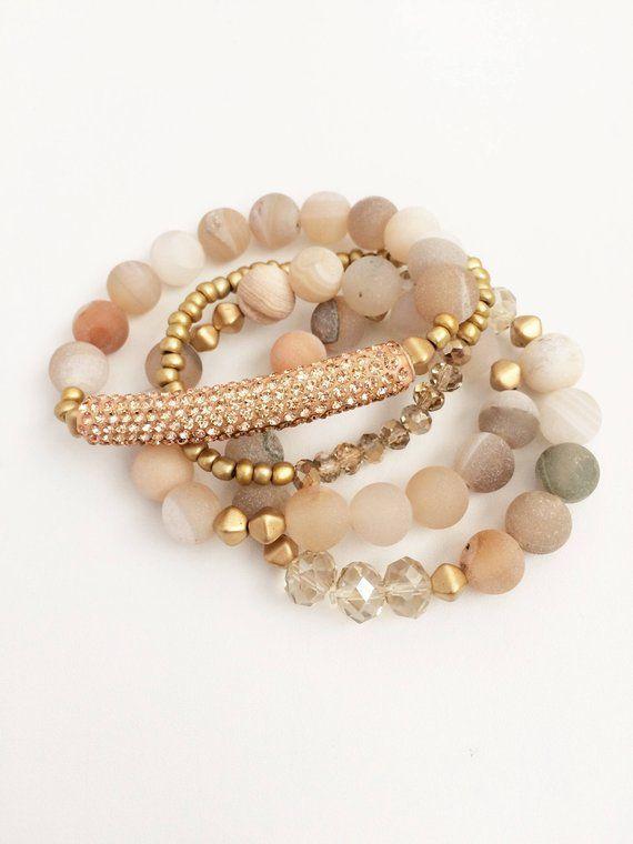 Photo of Natural stone bracelet set | Stack Bracelet Set | Stretch bracelet set | Boho jewelry … – Questa blog