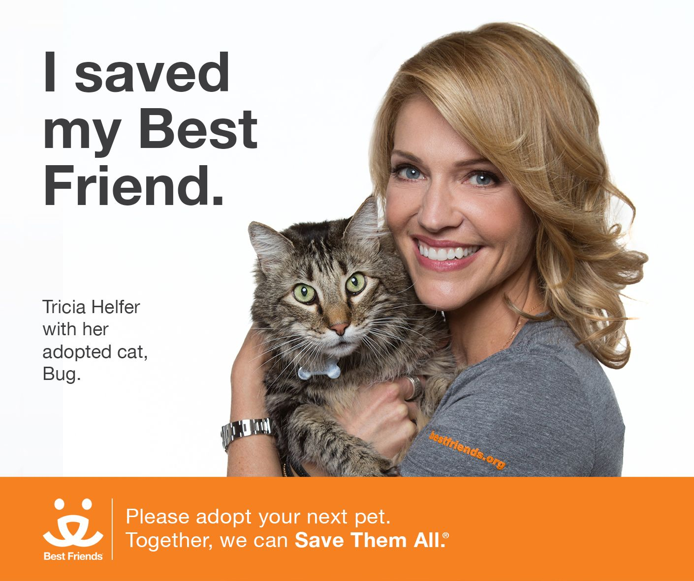 "Tricia Helfer has captivated sci-fi and gaming fans through her powerful roles in ""Battlestar Galactica"" and @Syfy's ""Ascension."" But it's her hard work on behalf of homeless pets that is truly out of this world! She's teaming up with Best Friends to help the 9,000 animals killed every day in our nation's shelters."