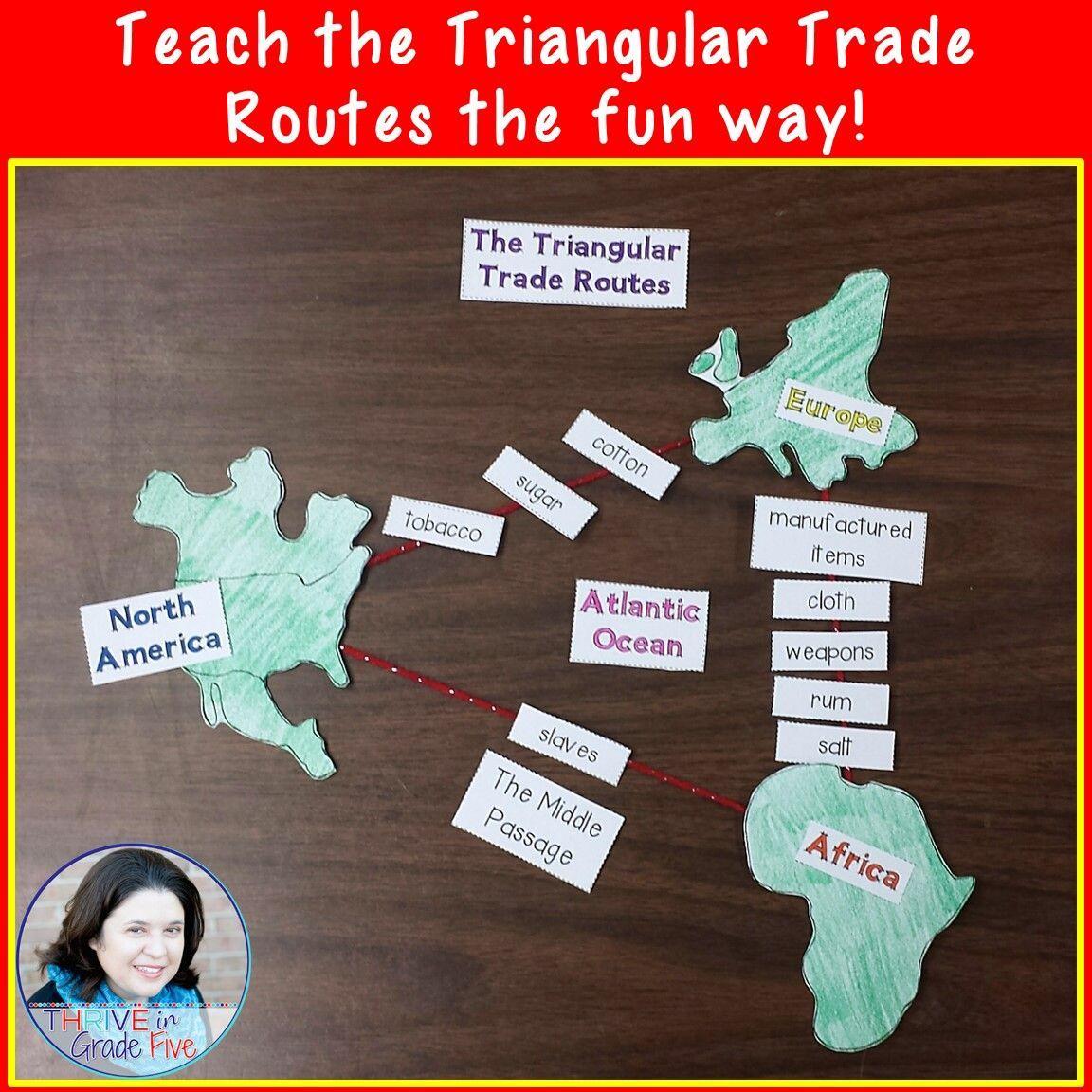 Triangular Trade Routes Activity Social Studies Middle School Social Studies Education Social Studies Lesson