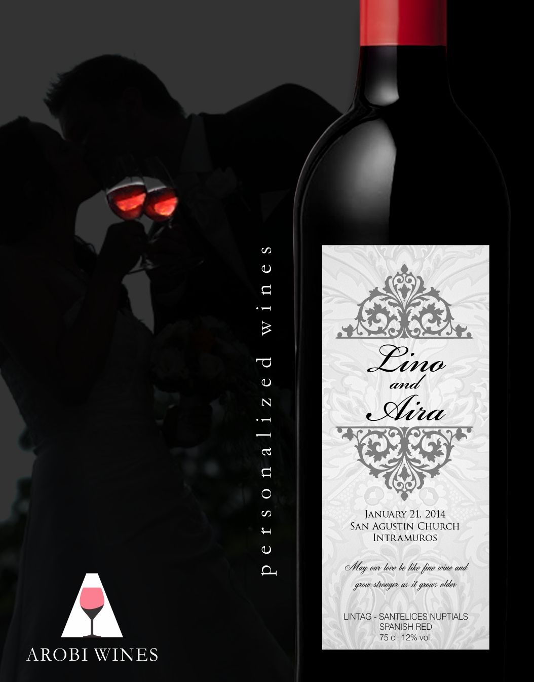 Pin On Personalized Wine Manila Wedding Favor