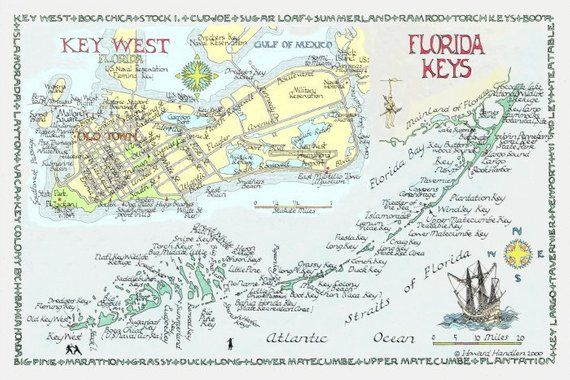 Florida To Maine Map.Florida Keys Key West Two Sizes In 2019 Products Pinterest