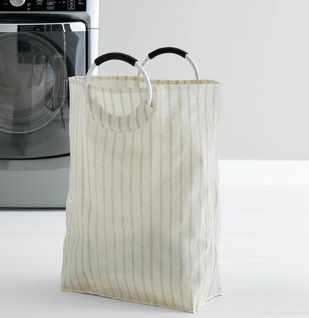 Mainstays Collapsible White And Grey Laundry Tote White Grey