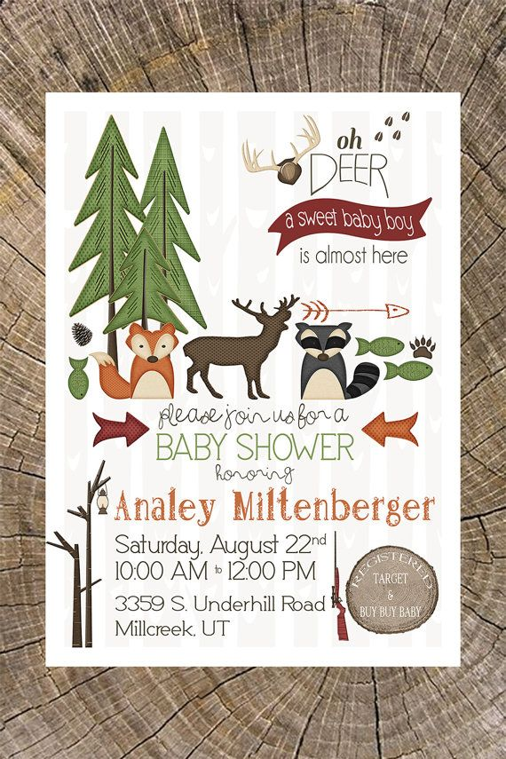Outdoor Baby Shower Invitation (Hunting, Camping, Animals, Critters ...