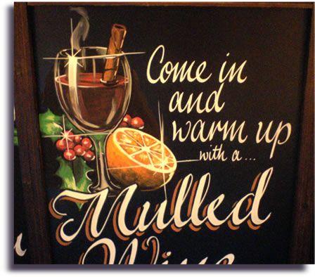 Image of pub chalkboard advertising mulled wine art for Wine chalkboard art