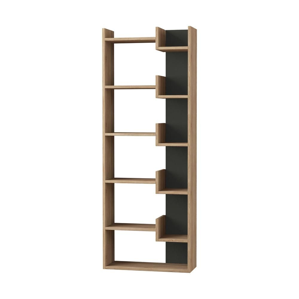 Ada Home Decor 64 17 In Oak Anthracite Wood 11 Shelf Etagere Bookcase With Open Back Dcrb2159 In 2020 Modern Bookcase Bookcase Bookcase Styling
