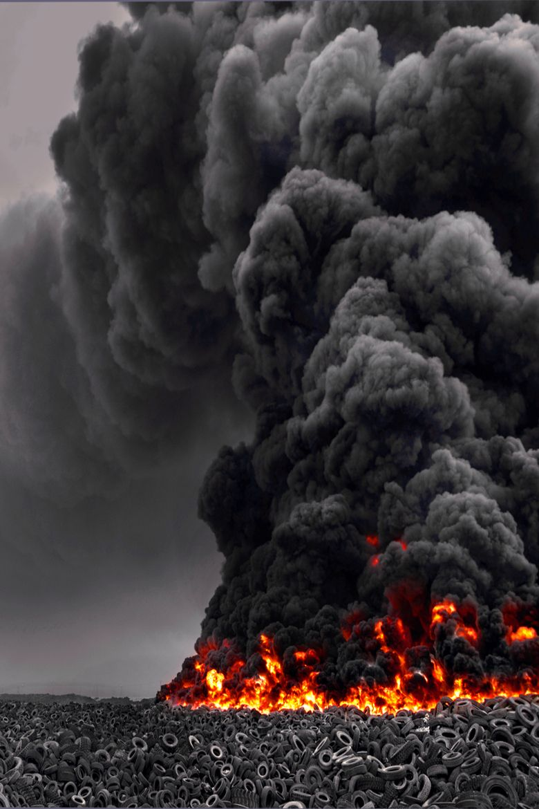 In Jahra, Kuwait a five million tire fire erupted on April
