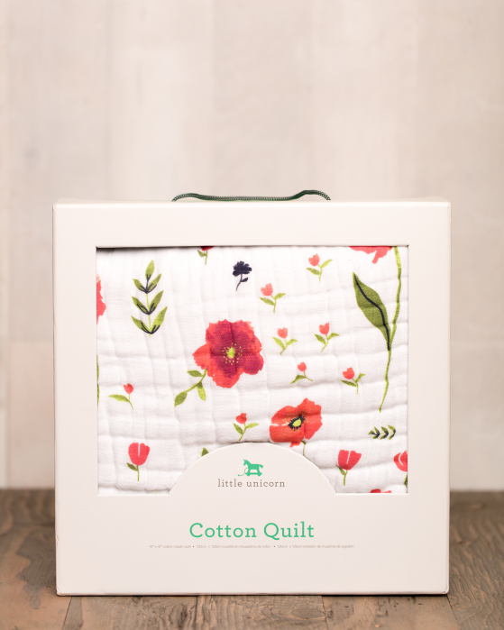 Little Unicorn Cotton Muslin Quilt - Summer Poppy #littleunicorn