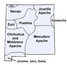 Pueblo New Mexico Map.General Map Of New Mexico American Indian Tribe Territories New