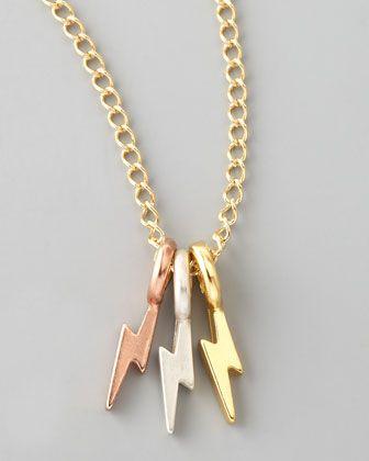 Jewels Obsession Lightning Bolt Necklace 14K Rose Gold-plated 925 Silver Lightning Bolt Pendant with 18 Necklace