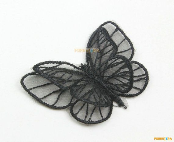 5 Pieces Butterfly Lace Applique Black Terylene by ForestEra