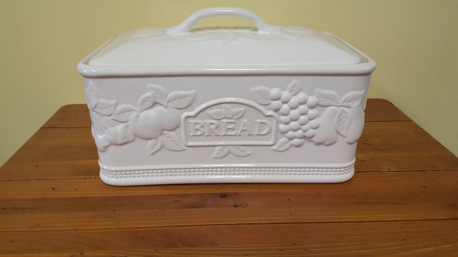 Vintage Ceramic White European Bread Box Made In Portugal Fruit
