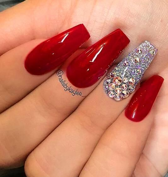 30 Super Cute Red Acrylic Nail Designs To Inspire You Red Nails Glitter Coffin Nails Designs Red Acrylic Nails