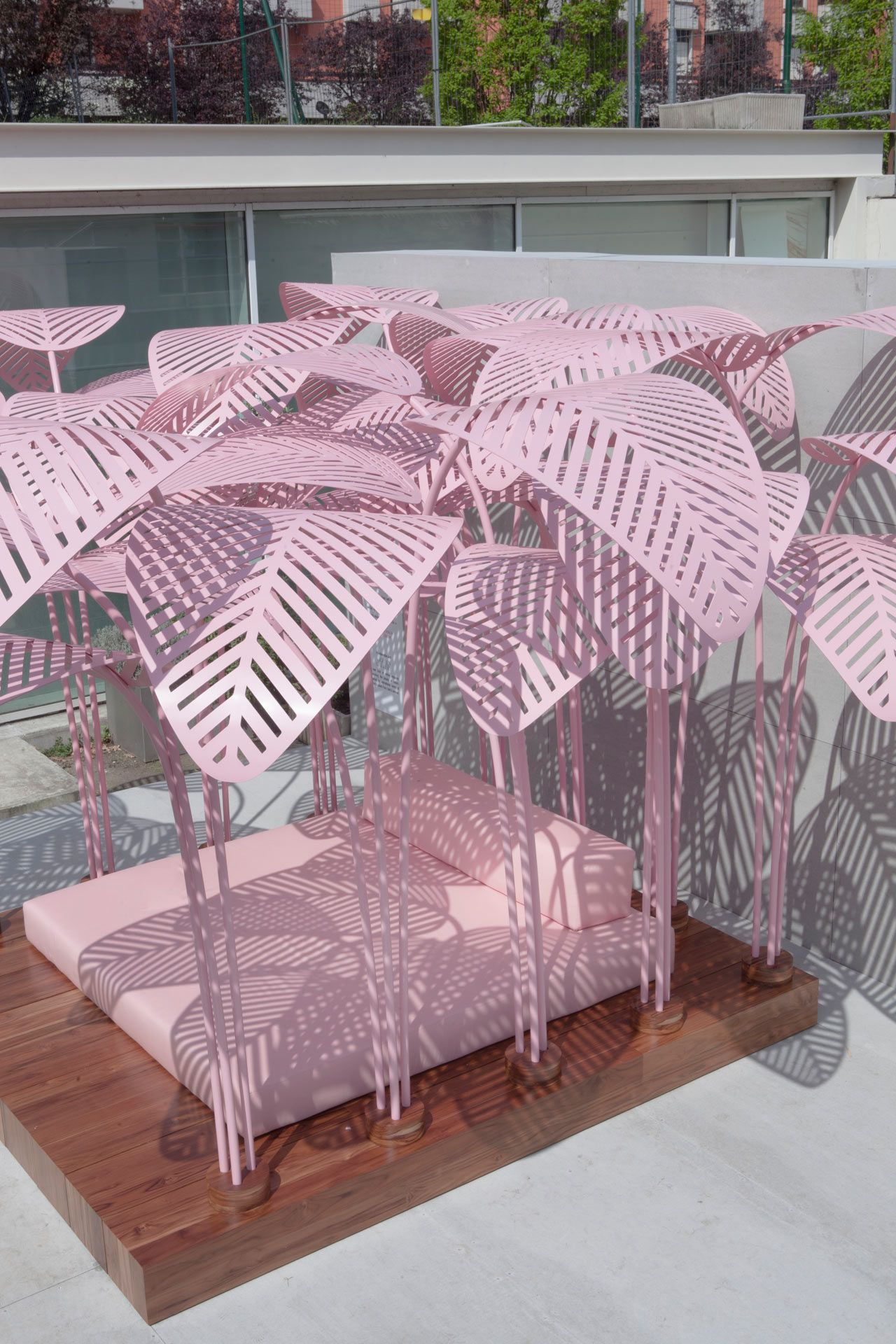 Le Refuge, a pink, jungle-like daybed designed by Parisian/Italian artist and designer Marc Ange at the Wallpaper* Handmade exhibition space in collaboration with The Invisible Collection and Green Gallery