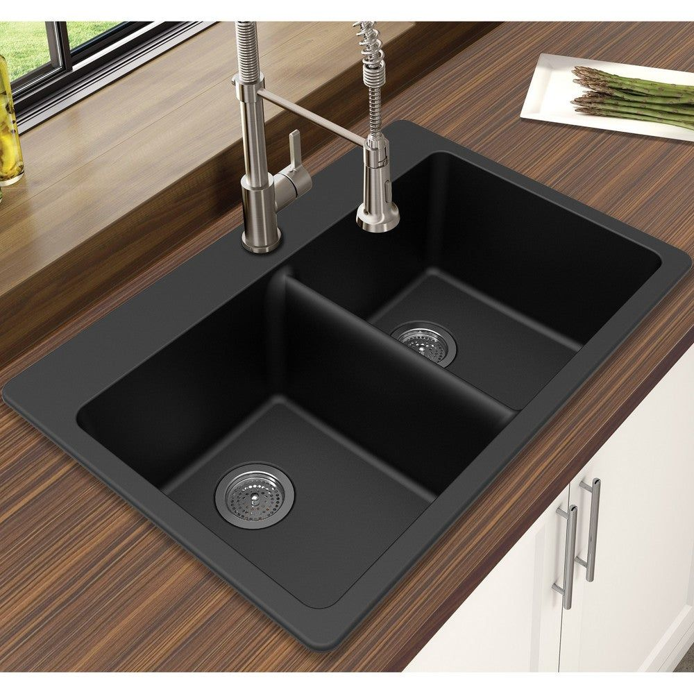 Winpro Granite Quartz 33 X 22 X 9 1 2 Double Bowl Dual Mount Sink Grey Gray In 2020 Drop In Kitchen Sink Black Kitchens Kitchen Remodel