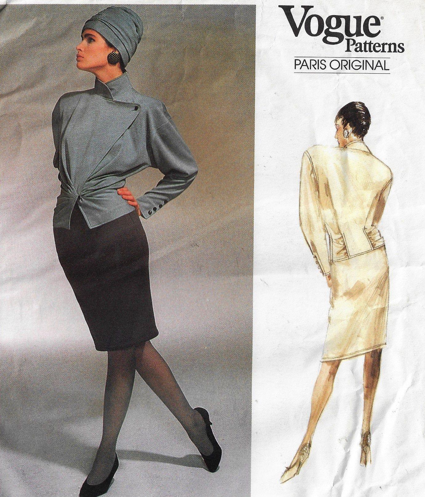 1980s Emanuel Ungaro Womens Asymmetrical Top  Pencil Skirt Vogue Sewing Pattern 1951 Size 14 1980s Emanuel Ungaro Womens Asymmetrical Top  Pencil Skirt Vogue Sewing Patte...