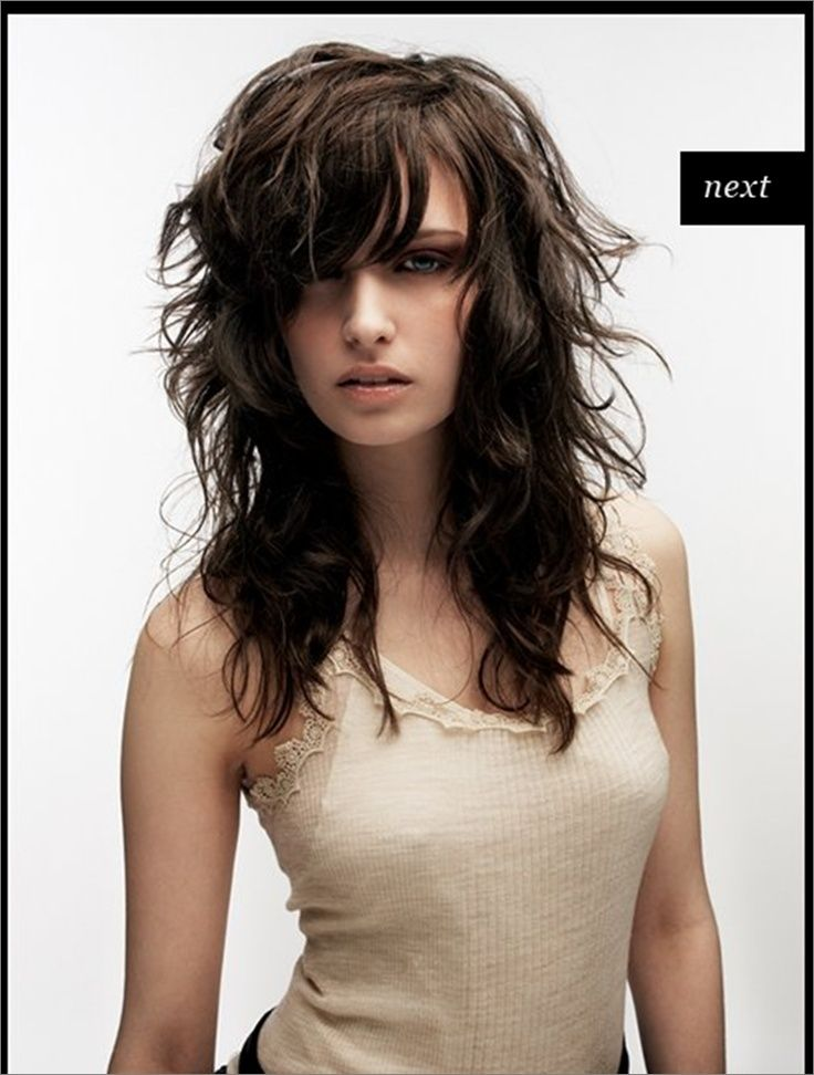 Long Hair With Short Choppy Layers And Side Swept Bangs Google