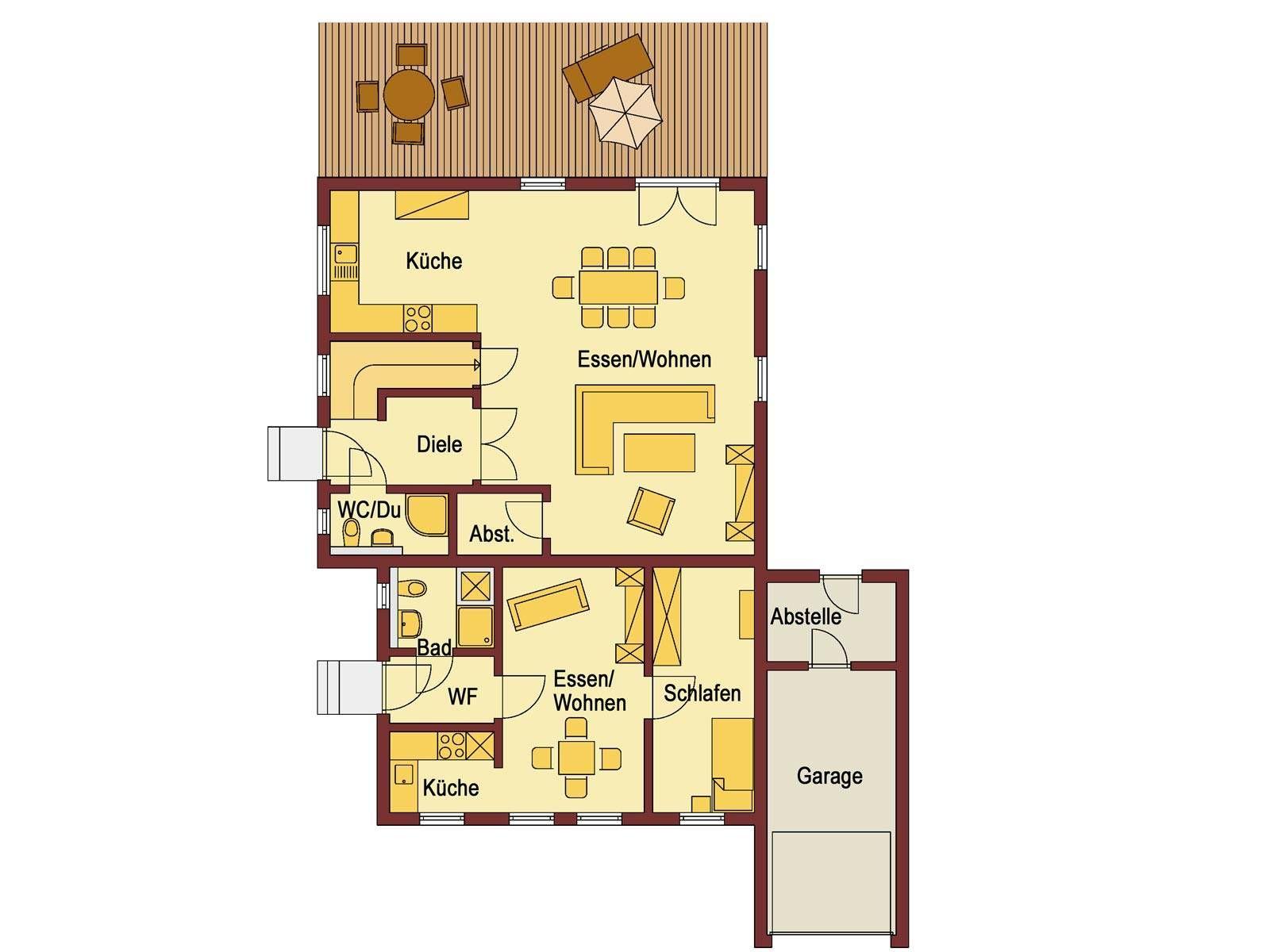 grundriss erdgeschoss einfamilienhaus mit einliegerwohnung haus ideen pinterest. Black Bedroom Furniture Sets. Home Design Ideas