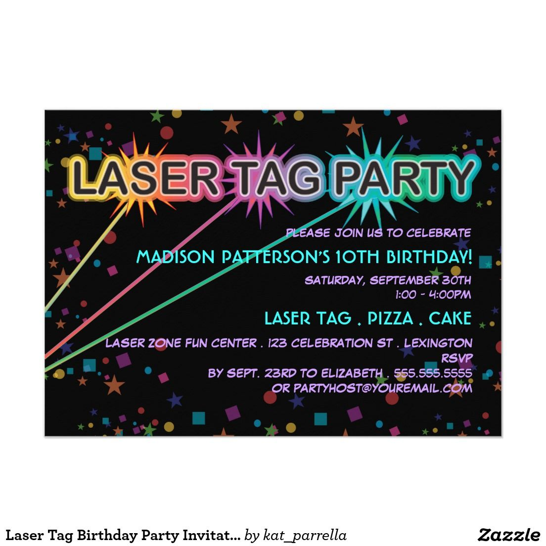 Laser Tag Birthday Party Invitation | Birthdays | Pinterest ...