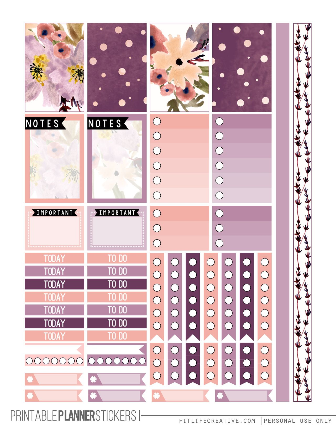 free printable perfectly purple planner stickers from fit life creat