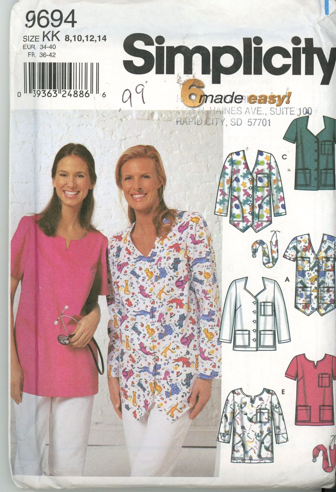 Simplicity 9694 Womens Scrubs Tops,Pullover or Button Front Sz 8-14 ...