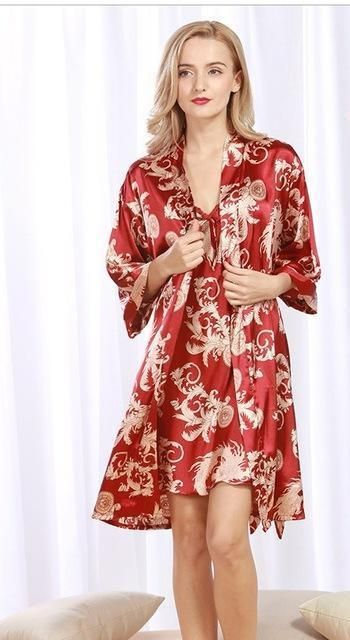 6615a0d9fc This 2-piece Satin feel Robe with matching nightgown is down right  comfortable and looks great too. Available in 5 different colors. My  favorite is the red