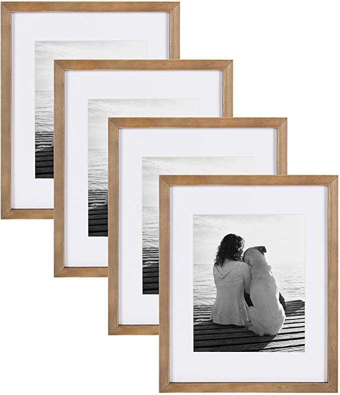 Amazon Com Designovation Gallery Wood Photo Frame Set For Customizable Wall Display 11x14 Matted To 8x1 In 2020 Wood Picture Frames Picture On Wood Wood Photo Frame