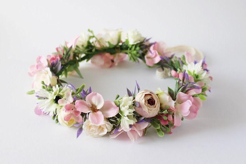 Kwiatowy Wianek Na Glowe Jak Zywy Kwiatysapiekne Kwiaty Do Wlosow Flower Crown Flower Girl Crown Flower Decorations