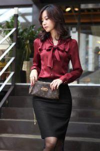 28f588028812 faldas-combinadas-con-blusas-de-manga-larga-6 | Blusas | Blusa ...