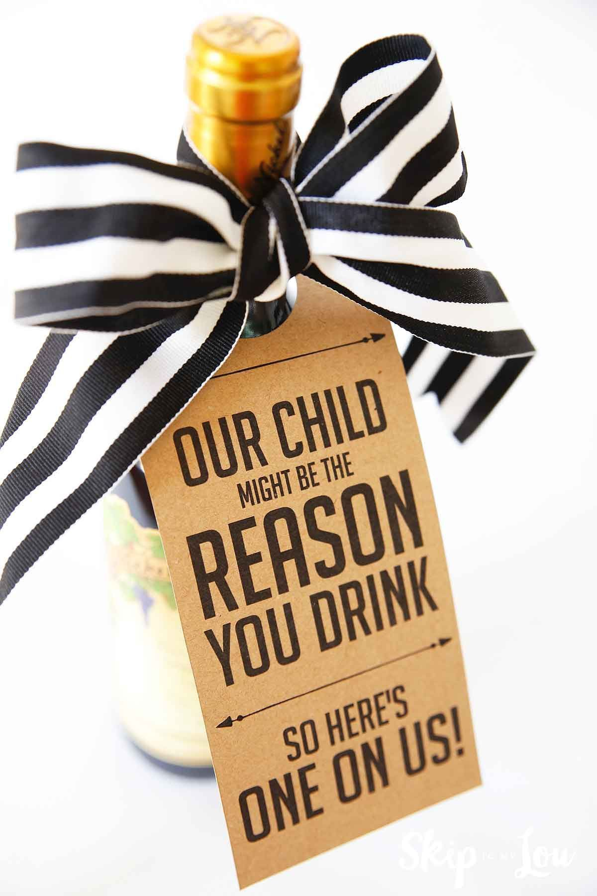My Child Might be the Reason you Drink Teacher Wine Gift {FREE Printable tag} #teachergifts