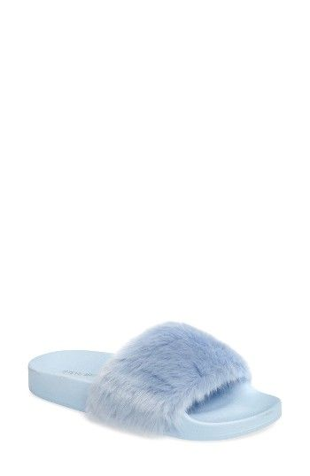 34d957f79eb Steve Madden Softey Slide (Women) at Nordstrom.com. A fuzzy slide takes  street style to the next level with a faux-fur finish and comfortable  rubber sole ...