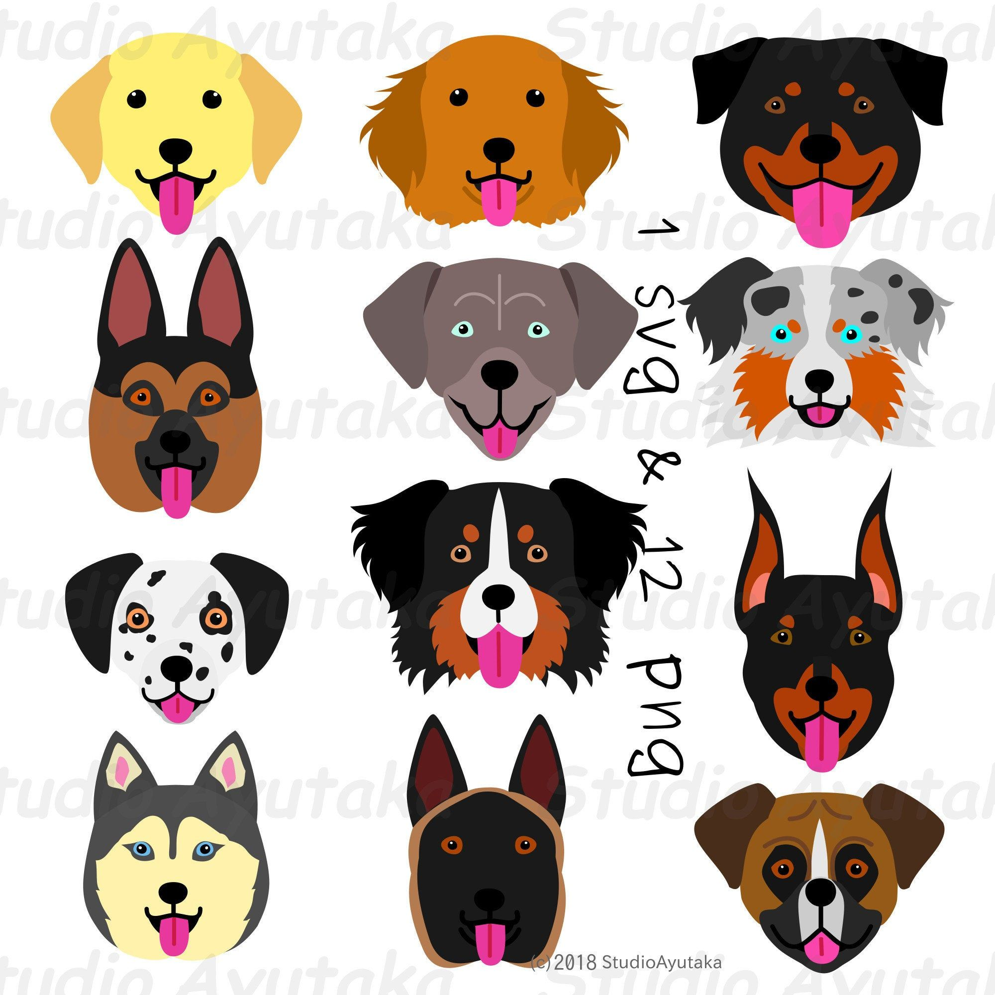 12 Large Dog Face Set Svg Png Large Dogs Dog Face Png