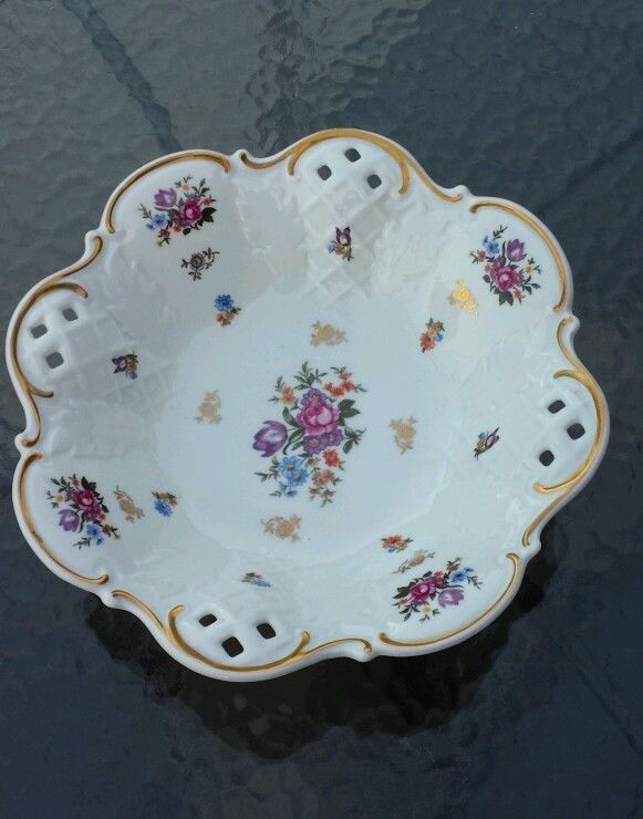 Vintage Reichenbach Signed Porcelain China Footed Bowl Open Work Gold Detailing #Reichenbach