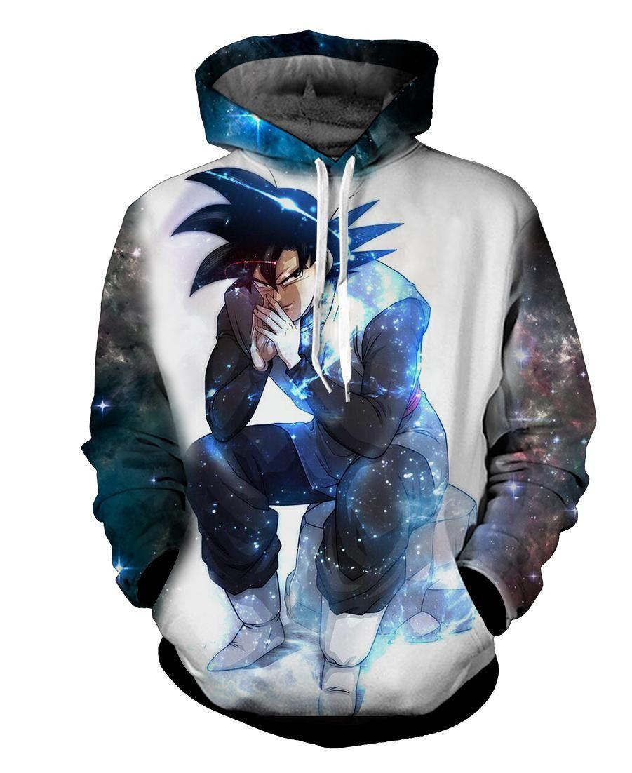Black Goku 3d Hoodie Black Sweatshirt Hoodie Goku Black Blue Aura