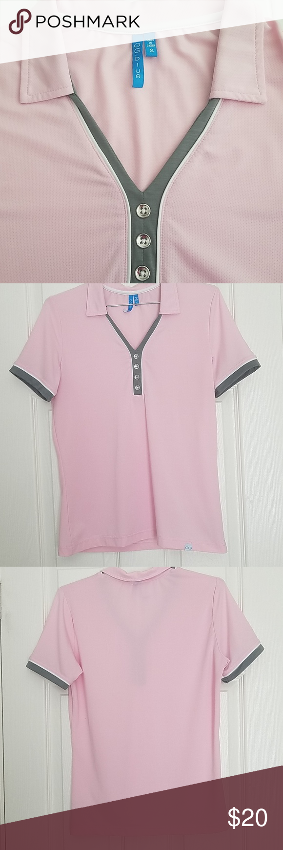 Gg Blue Golf Shirt Pink Green Size Small Golf Shirts Clothes Design Fashion