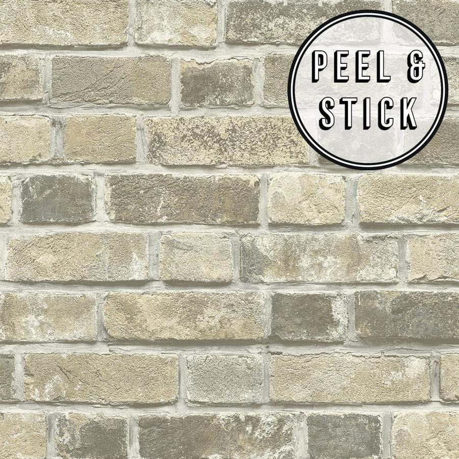 Transform Transform Taupe Brick Peel And Stick Wallpaper Lowes Com Peel And Stick Wallpaper Brick Effect Wallpaper Removable Wallpaper For Renters