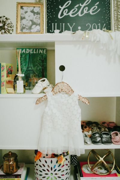 Great use of shelving: http://www.stylemepretty.com/living/2015/02/23/modern-french-inspired-nursery/ | Photography: Diana Zapata - http://www.dianazapata.com/
