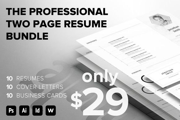 Professional 2 Page Resume Bundle @creativework247 Resume - 2 page resumes