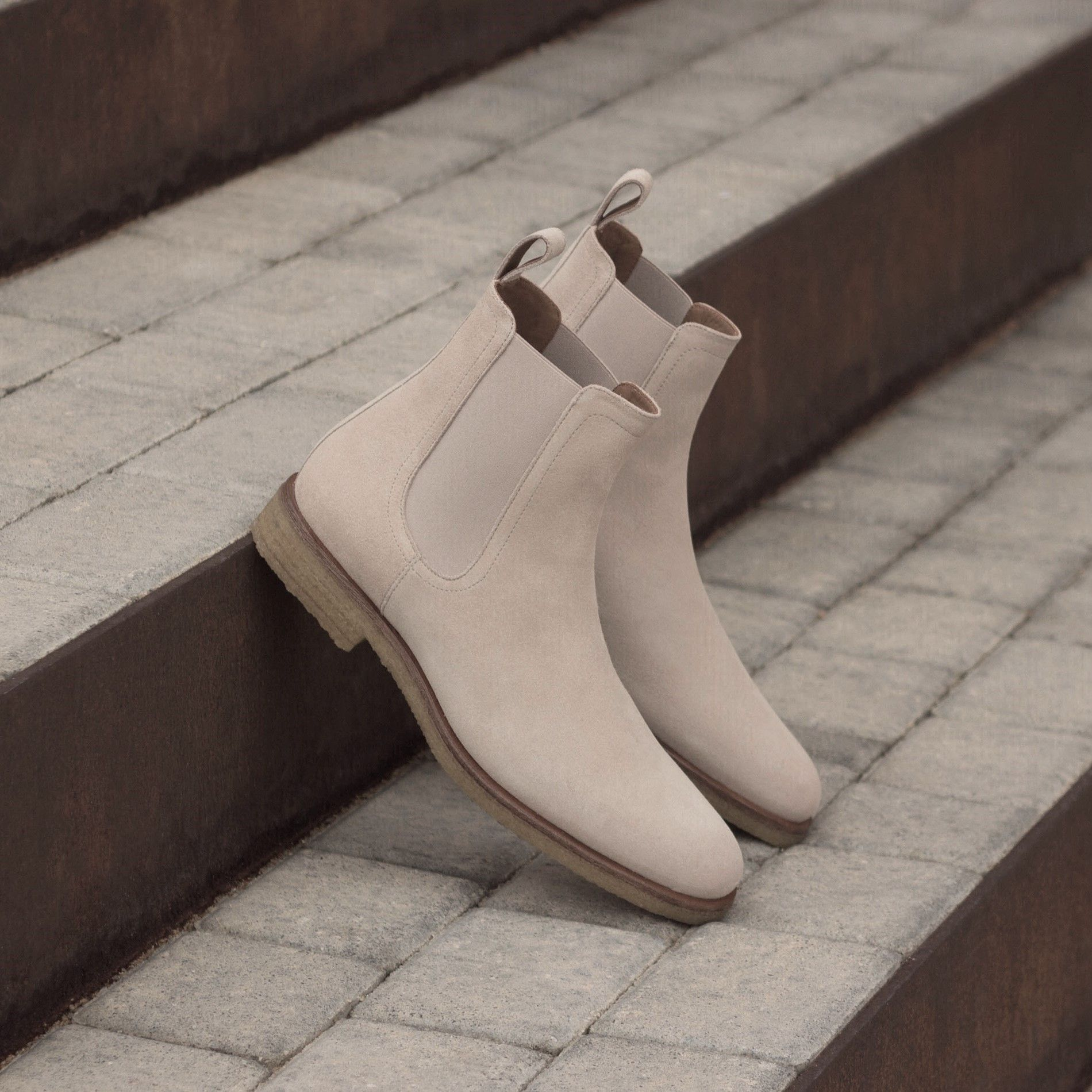 Santorini Beige Crepe Chelsea Boots | Chelsea boots, Chelsea