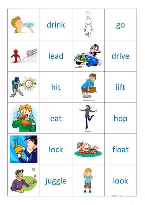 Action Verbs Interesting Verbs 2  Memory  Class Worksheets And Ideas  Pinterest .