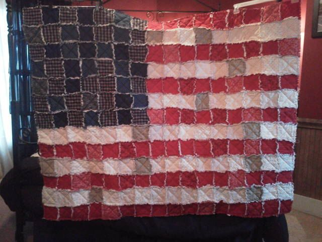 American Flag Wall Hanging american flag rag quilt/ wall hanging. $179.99, via etsy. | quilts