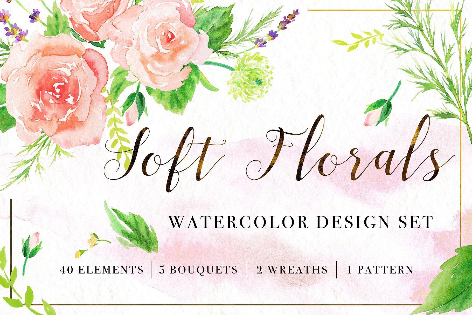 Soft florals watercolor design set pngsmallerbouquetsformat