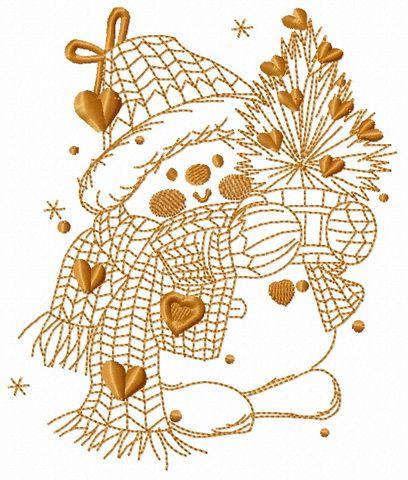 Snowman in love 4 embroidery designe. Machine embroidery design. www.embroideres.com