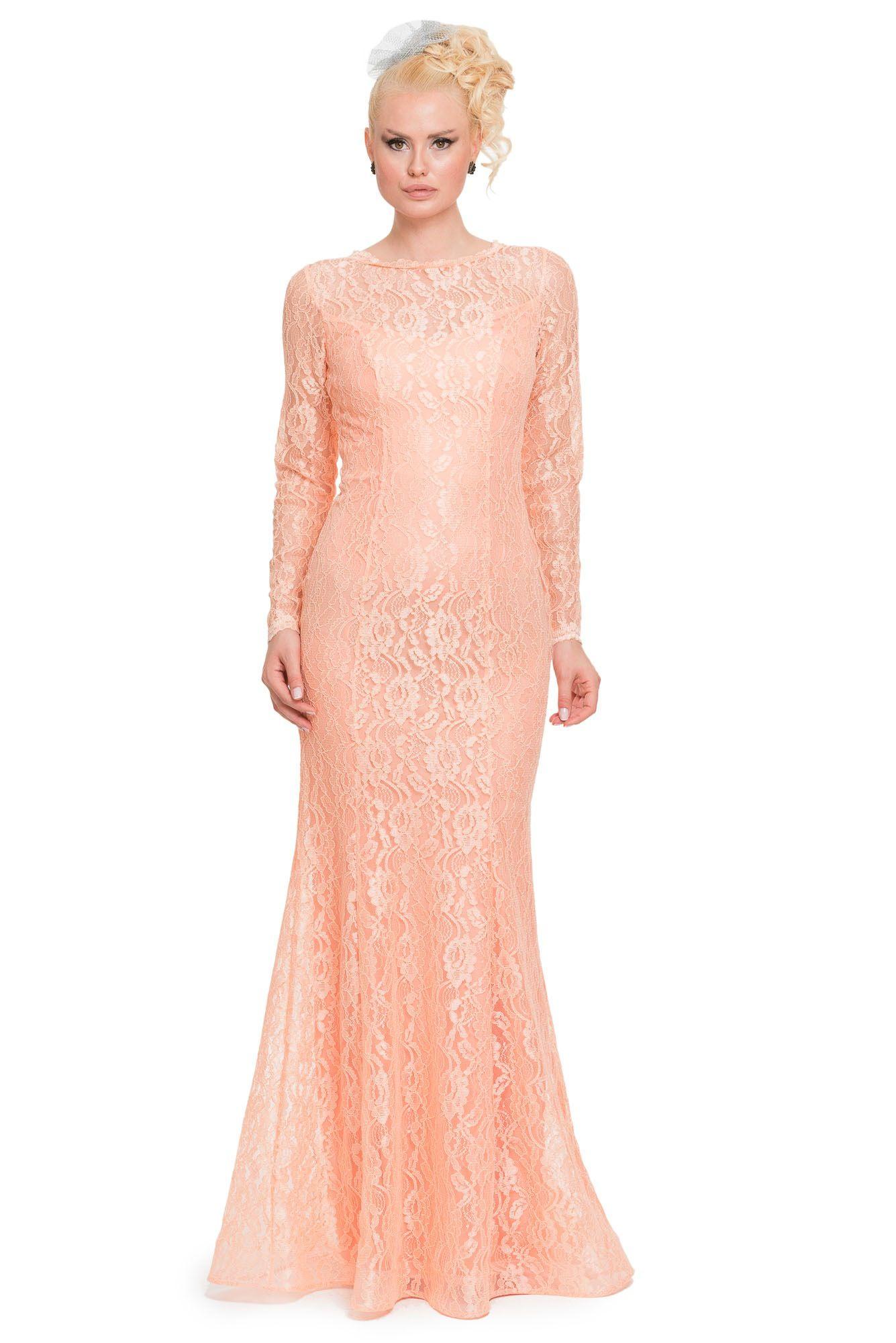 Pudra Uzun Kollu Dantel Uzun Abiye Elbise Abu079 Elbise Resmi Elbise Uzun Kollu