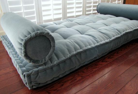 Custom French Mattress Cushions Shown In Blue Green Velvet