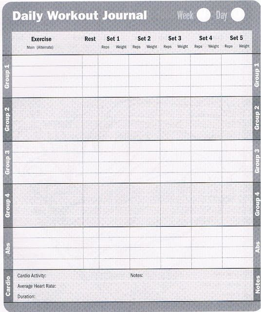 Printable Exercise Log | Free Printable Workout Log Sheets | Fitness ...