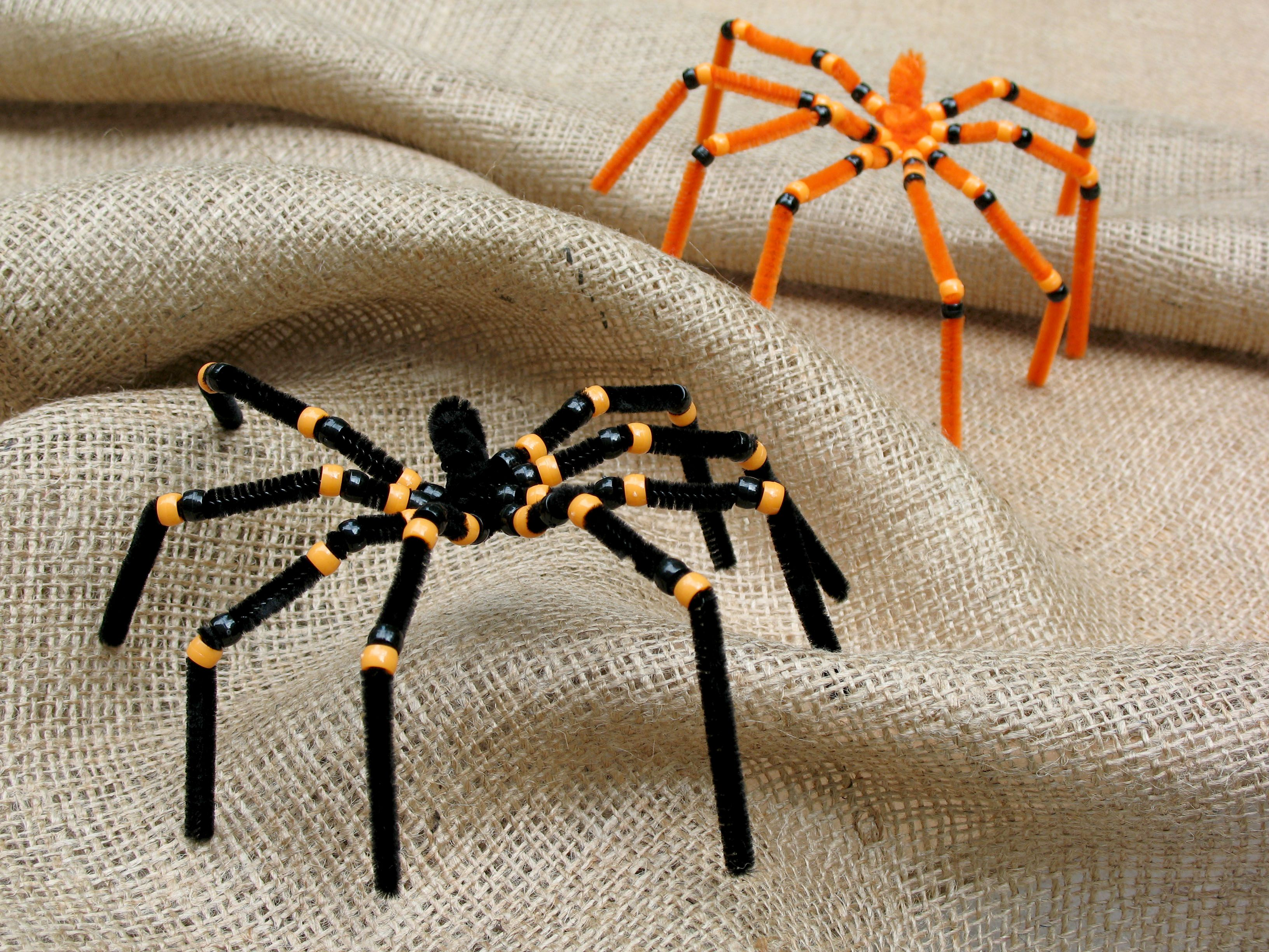 pipe cleaner and bead spider craft easy project for kindergarten bug science make with elmers glitter glue web on waxed paper - Halloween Crafts For Preschoolers Easy