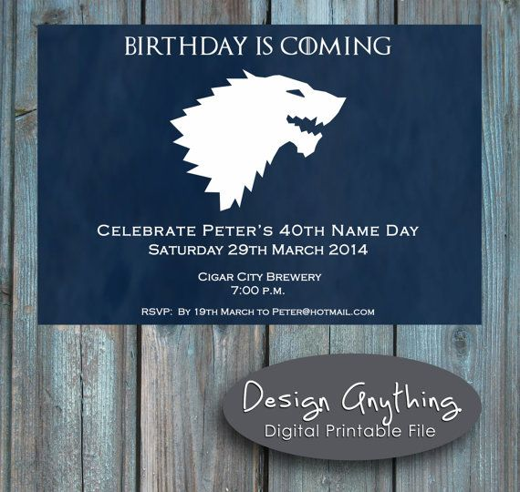 Printable Game Of Thrones Birthday Party Invitation G O T Custom