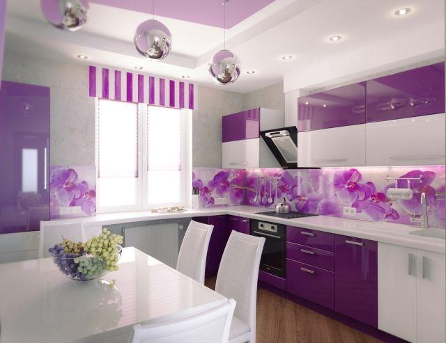 Kueche Wandgestaltung Glas Spritzschutz Foto Orchideen Lila Weiss.