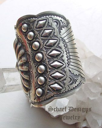 Vince Platero VJP signed LARGE sterling silver stamped repousse cuff