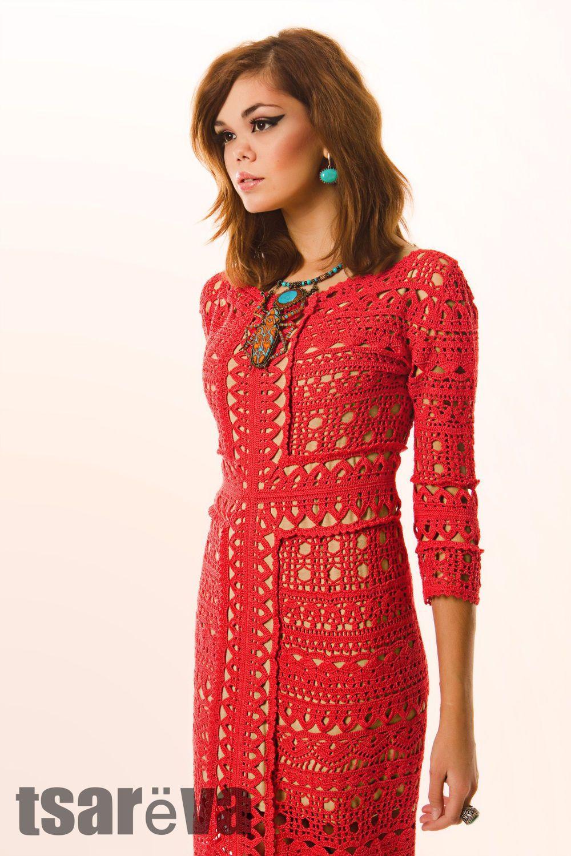 44a677179e9 Вязаное платье Вкус солнечного света. Крючок